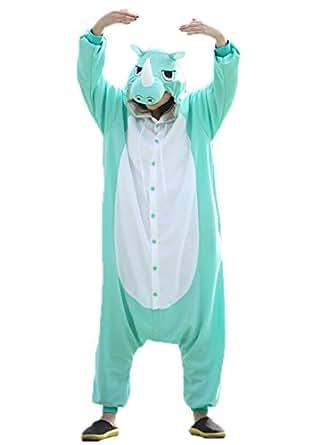 Hstyle Unisex Adulto Onesie Anime Kigurumi Trajes Disfraz Cosplay Animales Pijamas Pyjamas Ropa De Dormir Azul Rinoceronte S