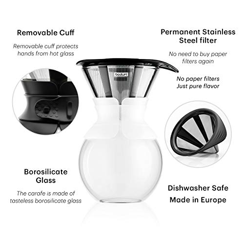 Image of Bodum Pour Over Coffee Maker with Permanent Filter, 1 Liter, 34 Ounce,