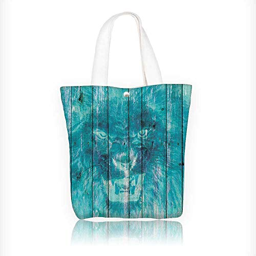 houette of King Li Tiger Wooden Oak Planks Hippie Style Retro Design Your Own Party Favor Pack Tote Canvas Bags by Big Mo's Toys W11xH11xD3 INCH ()