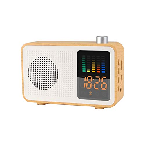 NOMENI Clock Radio Bluetooth Speaker with Digital FM Stereo, Retro Wood Color Wireless Bluetooth Speaker Radio with Time Display