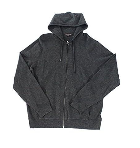 Michael Kors Mens Hooded Seamed Full Zip Sweater Gray XL - Michael Kors Zip Cardigan