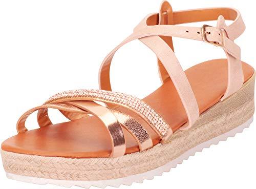 Gold Gem Wedge - Cambridge Select Women's Open Toe Crisscross Strappy Crystal Rhinestone Espadrille Flatform Sandal,8 B(M) US,Rose Gold PU