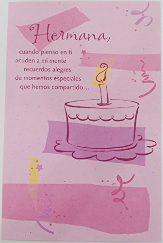 - Hermana - Ten un Dia Maravilloso - Feliz Cumpleanos / Happy Birthday Sister Greeting Card in Spanish