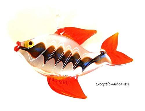 (Orange Tropical Fish Hand Blown Lampwork Glass Corkscrew Bead Focal Drop)