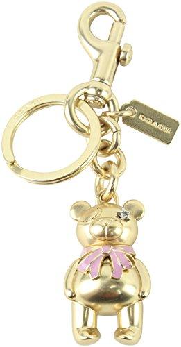 Enameled Purse Pink (COACH 3 - D Bear Bag / Purse Charm Key Fob / Chain in Gold 87166)