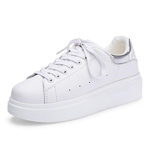 Chico mujer zapatos blancos/Joker aumentado los estudiantes coreanos en zapatos de cuero/fondo grueso muffin y blanco zapatos de otoño B