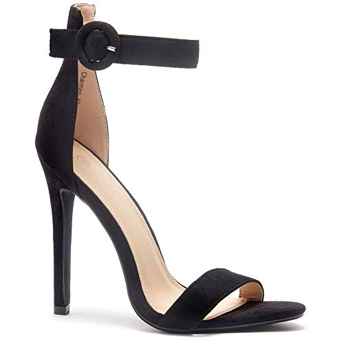 - Herstyle Charming Women's Open Toe Ankle Strap Stiletto Heel Dress Sandals Elegant Wedding Party Shoes Black 9.0