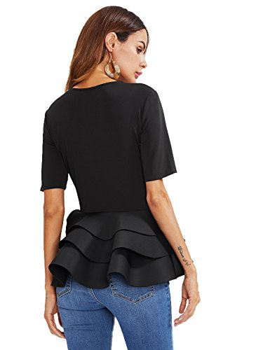 ROMWE Women's Vintage Layered Ruffle Hem Slim Fit Round Neck Peplum Blouse Black L