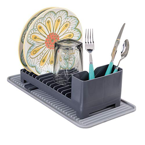 mDesign Compact Kitchen Countertop, Sink Dish Drying Rack with Swivel Spout and Silicone Drying Mat - Drain and Dry Wine Glasses, Bowls and Dishes - Set of 2, Gray/Slate Drainer and Heat-Safe Mat