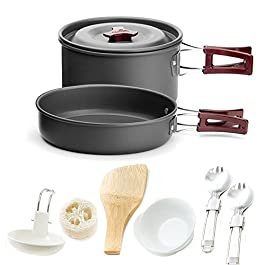 Honest Portable Camping cookware Mess kit Folding Cookset for Hiking Backpacking 11 Piece Lightweigh Durable Pot Pan Bowls Spork with Nylon Bag Outdoor Cook Equipment (Red, 2 Liter Pot)
