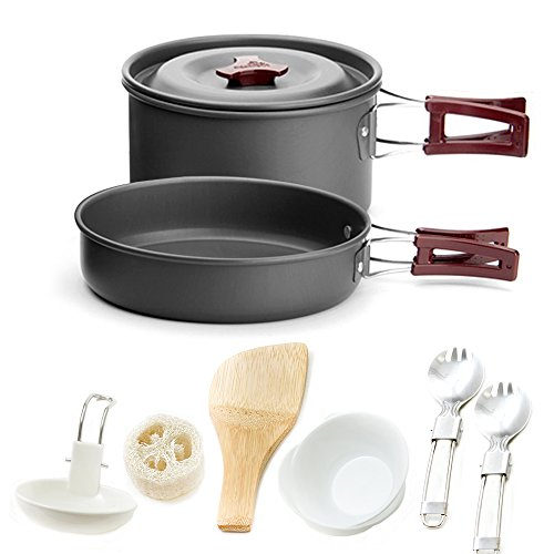 Aluminum Cookset - Honest Portable Camping cookware Mess kit Folding Cookset for Hiking Backpacking 11 Piece Lightweigh Durable Pot Pan Bowls Spork with Nylon Bag Outdoor Cook Equipment (Red, 2 Liter Pot)