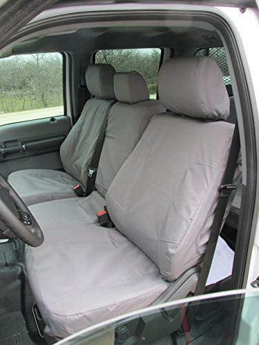 Durafit Seat Covers FD79-C8-FBA Custom-fit for a 2013-2015 Ford F250/F350/F450/F550 Crew Cab Seat Cover Set. Durable Gray Endura Material for Comfort and Reliability on Your Seats. Model Specific