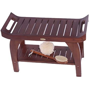 24 Inch Tranquility Teak Eastern Style Shower Bench with Shelf and Arms- Patented Design