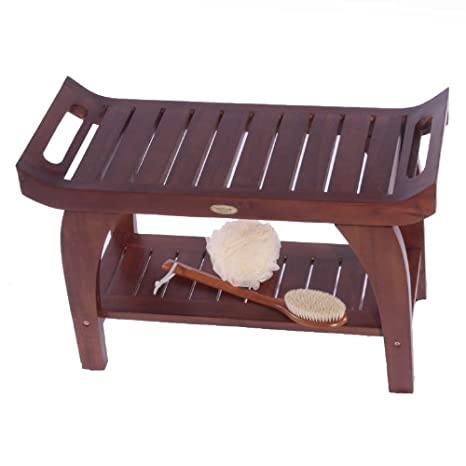 24 Inch Tranquility Teak Asia Style Shower Bench with Shelf and Arms- Patent Pending Design