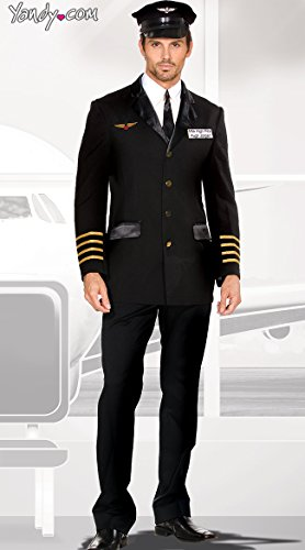 Stewardess Halloween Costumes (Dreamgirl Men's Mile High Pilot Hugh Jordan Costume, Black,)