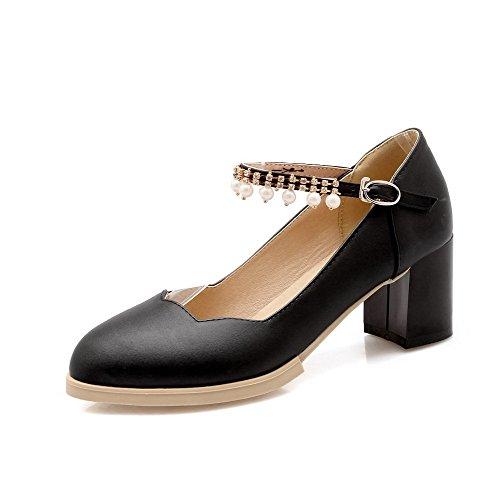 AgooLar Damen Schnalle Mittler Absatz PU Eingelegt Spitz Zehe Pumps Schuhe, Schwarz, 42