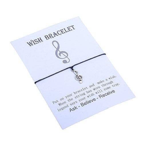 HooAMI Make a Wish Bracelet Musical Note Charm Black String Friendship Bracelet Wish Bracelet