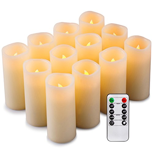 Enpornk Set of 12 Flameless Candles Battery Operated LED Pillar Real Wax Flickering Electric Unscented Candles with Remote Control Cycling 24 Hours Timer, Ivory Color -