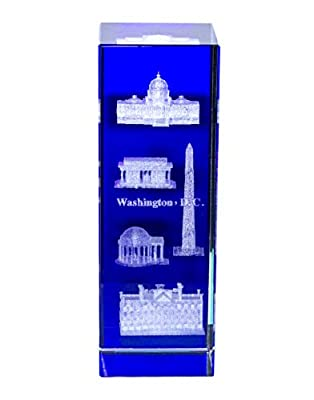 Presidential Souvenirs Washington DC Glass Figurine with Blue Background