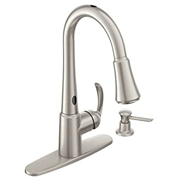 Moen 87359E2Srs One-Handle High Arc Pulldown Kitchen Faucet, Spot