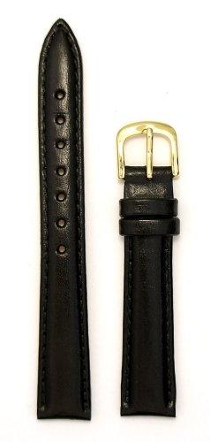Italian Leather Band (Ladies'Genuine Italian Leather Watchband Black 14mm Watch Band)
