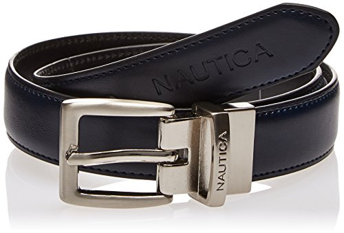 Nautica Men's Nautica Boys' Dress Reversible Belt With Contrasting Stitch,Navy/black,30