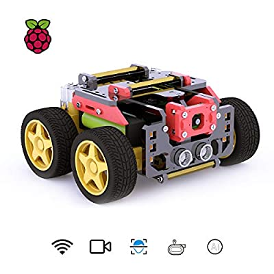 Adeept AWR 4WD WiFi Smart Robot Car Kit for Raspberry Pi 3 Model B+/B/2B, DIY Robot Kit for Kids and Adults, OpenCV Target Tracking, Video Transmission, Raspberry Pi Robot with Manual