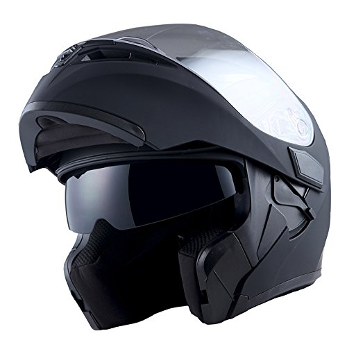 1Storm Motorcycle Modular Full Face Helmet Flip up Dual Visor Sun Shield: HB89 Matt Black; Size L (22.4-22.8 Inch) ()
