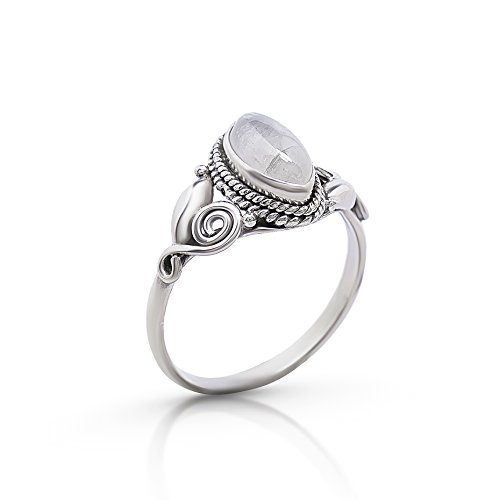 Koral Jewelry Moonstone Vintage Gipsy Spiral Side Small Ring 925 Sterling Silver Boho Chic US Size 5 6 7 8 9
