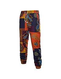 Zhuhaitf Breathable Loose Linen Trousers Joggers Pants Retro Printing for Mens