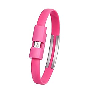 Aobiny Bracelet Data Cable Wristband Micro USB Cable Charger Charging Data Sync For Android Cell Phone (Hot Pink)