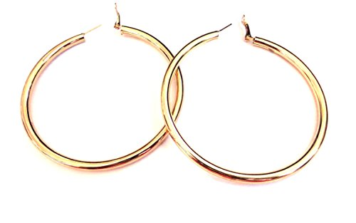 Extra Large Gold Tube Shiny Brass Plate Hoop Earrings 3 inch Hoops (Shiny Gold Plate)