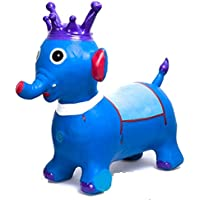 west feen Musical Elephant Toy Inflatable Bouncer with Air Pumper Free 57 cm - Best for Toddlers, More Safety Than Bouncy Balls, Best Gifts, Heavy Duty Rubber( AIR Pump Free Multicolour )