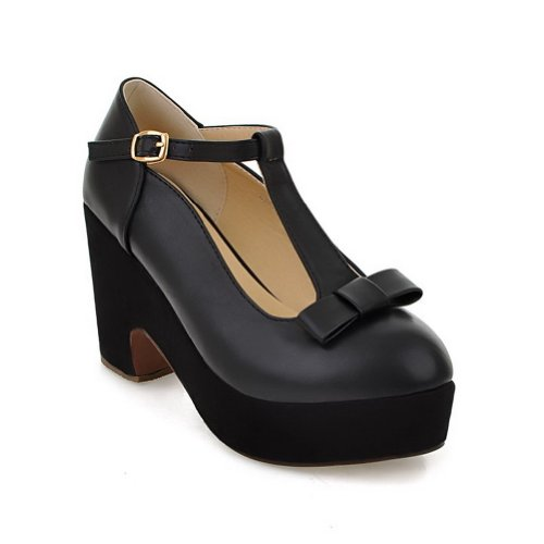 US M and 5 T B Toe Heel High PU Solid Black strap Pumps Round Closed whith WeenFashion Bowknot Women's Chunky RxwqUU7H