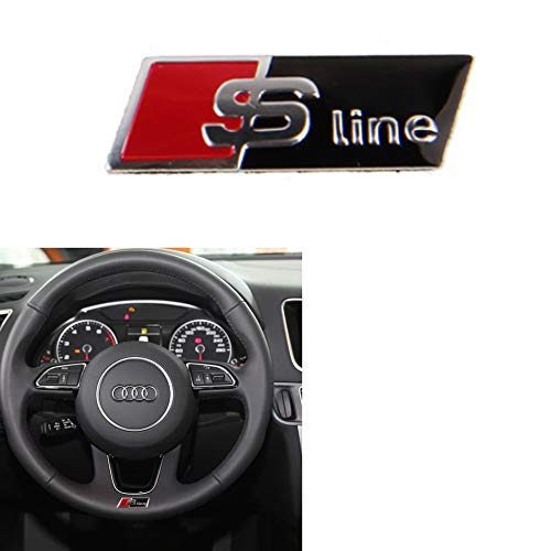 (Car Styling Decal Logo Steering Wheel Emblem Decal Sticker Badge Decoration Sline Logo For Audi S Sports A1 A3 A4 A5 A6 A7 A8 S8 Q3 Q5 Q7( Sline black ))