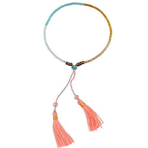 KELITCH Multicolor Crystal Beaded Wrap Bracelets Handmade Tassel Friendship Bracelets New Cuff Jewelry (Orange)
