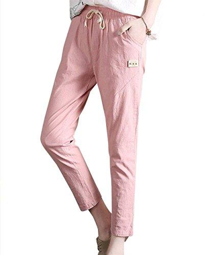 Waist Pantalone Chic Colori 7 Casual Fidanzato Streetwear Coulisse Cute A 8 Tasche High Pink Donna Pants Con Pantaloni Solidi Elegante Elastico Moda Matita qwzOURtXZ