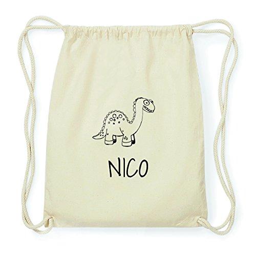 JOllipets NICO Hipster Turnbeutel Tasche Rucksack aus Baumwolle Design: Dinosaurier Dino nX5MIor42