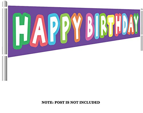 (Large Happy Birthday Banner, Colorful Birthday Banner, Birthday Party Supplies Decorations, Rainbow Birthday Photo Prop Backdrop (9.8 x 1.5 feet))