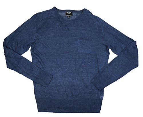 Chest Pocket Lightweight Pullover - Todd Snyder 100% Linen Saddle Pocket Lightweight Pullover Sweater (Navy, Large)