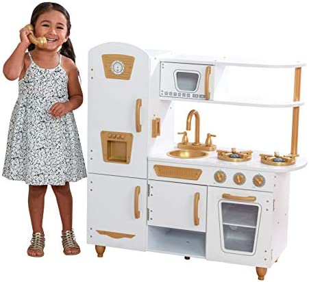 KidKraft Modern White Play Kitchen with Gold Accents  27Piece Cookware Set  Amazon Exclusive