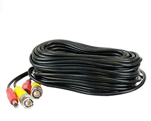 - 25 Feet Pre-made All-in-One BNC Video and Power Extension Cable with Connector for CCTV Security Camera (Black, 25 feet)