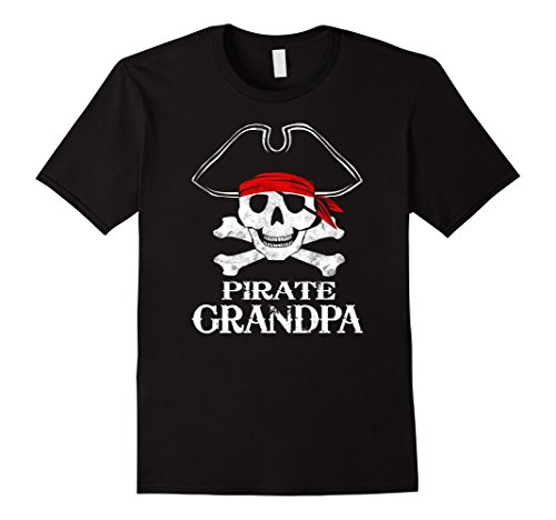 Themed Halloween Costumes For Groups (Mens Pirate Grandpa Family Halloween Costume Shirt Group Costume 3XL Black)