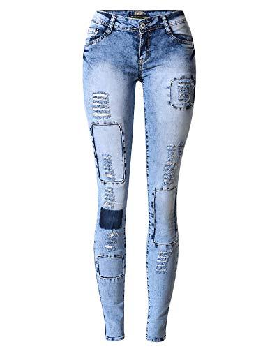 Casual Toppa Strappati Blu Denim Skinny Qitunc Elasticità Pantaloni Leggings Jeans Donna I1SqSxw6g