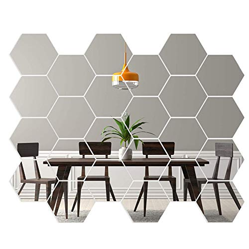 Gsyamh Adhesivo De Pared De Espejo Hexagonal Espejo Hexagonal 3D Decorativo De Bricolaje Espejo De Acrilico Hexagonal Geometrico Para El Hogar, Sala De Estar, Dormitorio, Sofa, Tv, Decoracion De Pared