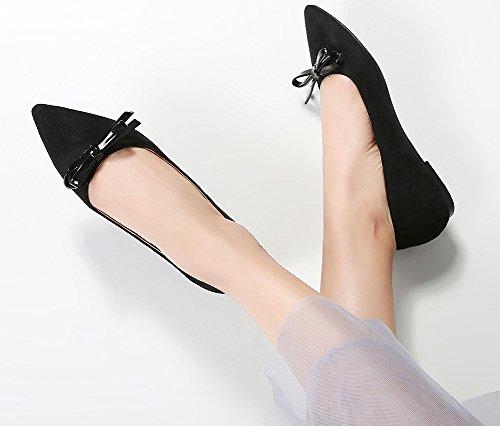 Aisun Femme Nœud Pointue Talon Plat Confort Danse Ballerines Noir CySM2