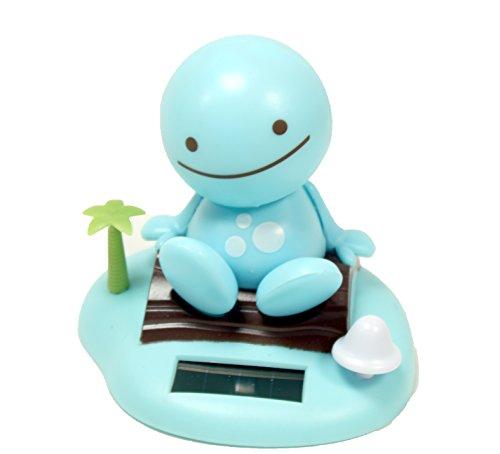 Adorable ~ Smiling Happy Face ~ Blue Sunny Doll on a Beach Island ~ Solar Toy Perfect Home Car Decor