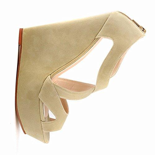 Sandalias de tacon alto - TOOGOO(R)zapatos ocasionales de tacon alto de mujer de boda con plataforma zapatos de botines albaricoque 40