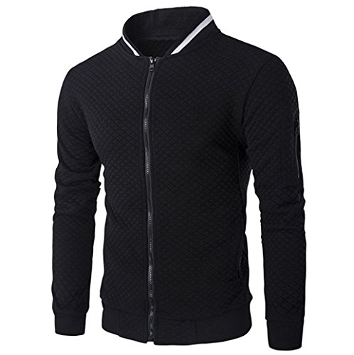 HTHJSCO Tops Jacket Coat, Mens Casual Soft Lightweight Zip up Baseball Collar Bomber Jacket with Diamond Plaid (Black, XL) by HTHJSCO
