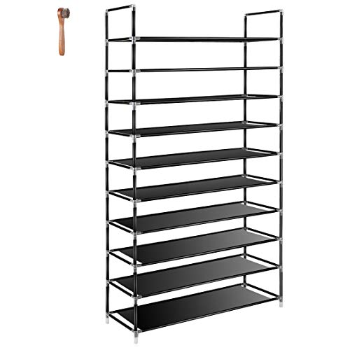 (TomCare 10 Tier Shoe Rack 50 Pairs Shoe Organizer Shoes Storage Shoe Shelf Shoe Tower - No Tools Required Non-Woven Fabric for Home Bedroom, Black)